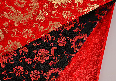 "Classic 28"" China Silk Retro. Damask Jacquard Brocade Fabric: Phoenix Tails"