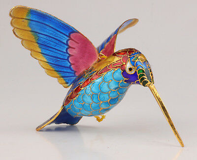 Cloisonne Statue Pendant Hummingbird Old Handmade Crafts Mascot Collection Value