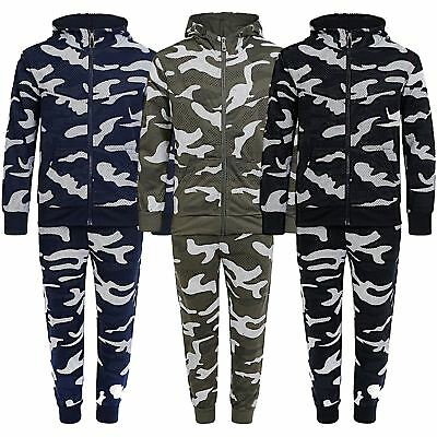 Boys Girls Camo Dot Print Tracksuit Kids Top Bottoms Teens Jumper Joggers 3-14 Y