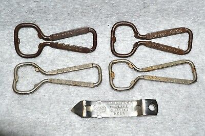 5 Vtg Advertising Soda Beer Bottle Can Openers, Falstaff, Whistle, LaSalle Hotel