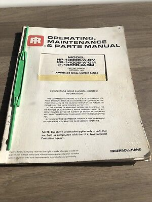 Ingersoll Rand Hp1300Wgm Xp1400Wgm Air Compressor Parts ,oper. Main. Manual