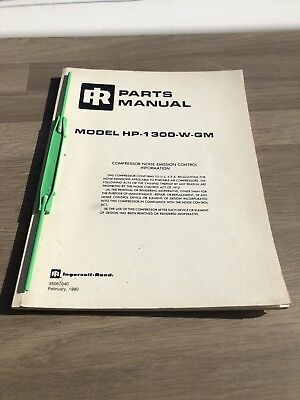 Ingersoll Rand Hp1300Wgm  Air Compressor  Parts Manual Only   Gm Engine Incvat