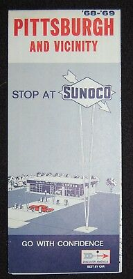 ~~~~~~~~~~~~Vintage 1968-1969 Pittsburgh & Vicinity Sunoco Road Map~~~~~~~~~~~~