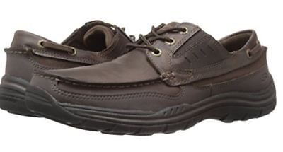 Skechers Brown Leather Mens Shoes Deck Boat Smart Casual Memory Foam Relaxed Fit