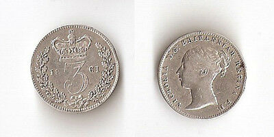 UK, Great Britain Threepence 1861 High grade!!!