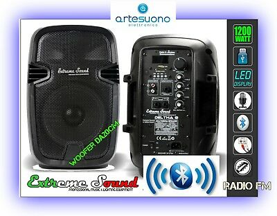 COPPIA DI CASSE AMPLIFICATE 1300W USB SD Mp3 Bluetooth WIRELESS Radio KARAOKE
