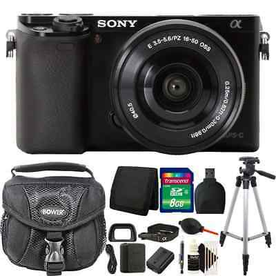 Sony Alpha a6000 24.3MP Black Digital Camera + 16-50mm Lens + 8GB Accessory Kit