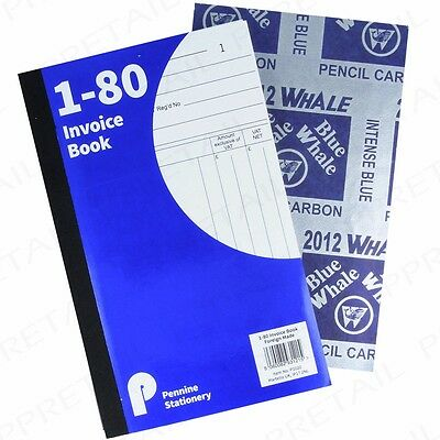 A5 INVOICE BOOK PACKS 1-80 Carbon Pages Receipt/Duplicate Cash Numbered Pad