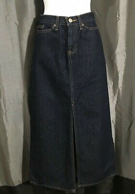 "Vintage GAP JEANS Long Denim Skirt Size 4 Reg (30""W) Straight Front Slit MAXI"