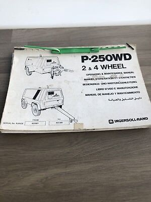 Ingersoll Rand P250Wd  Deutz Air Compressor Operation Part & Maintenance Manual