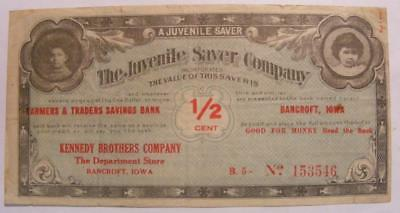 Bancroft Iowa 1/2 Cent Juvenile Savings Co Ad Note Kennedy Brothers Company