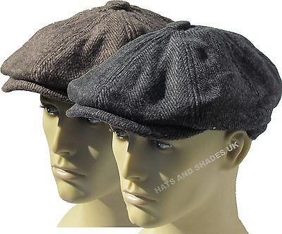 1c6e00aba8e3 Peaky Blinders Tweed Newsboy Hat herringbone Gatsby Cap Flat 8 Panel Baker  Boy