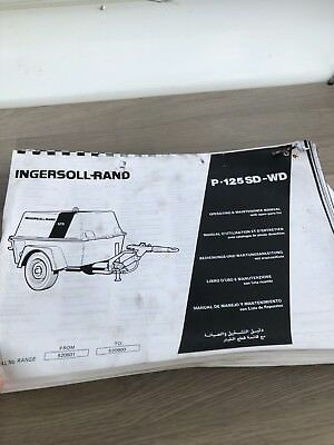 Ingersoll Rand P125Wd Air Compressor Operation Maintenance & Parts Manual Inc Va