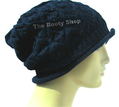 1c6c0f35629 Slouch Baggy Beanie Hat Thin Warm Navy Winter Knit Knitted Mens Ladies