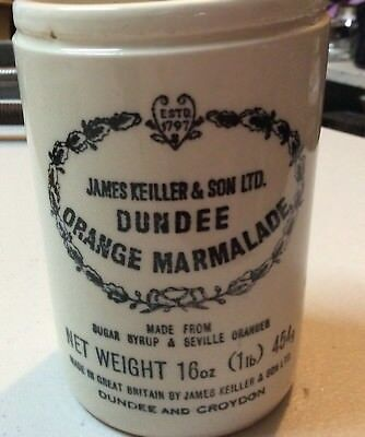Vintage Dundee Orange Marmalade Jar Crock 1 lb James Keiller & Son Ltd England