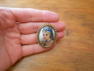 France exquisite ART NOVEAU Limoges porcelain pendant brooch hand painting women