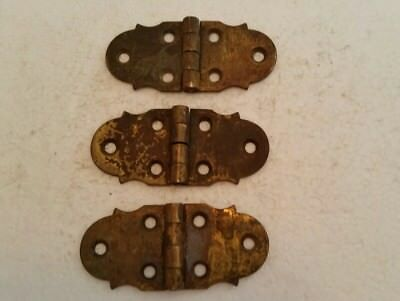 "Nice Set Of 3 Old Vintage Solid Brass Hinges 3 X 1 1/2""  (214H)"