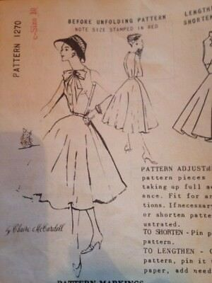 Spadea Claire McCardell American Designer's Sz 10 Unused 1950s Dress Pattern