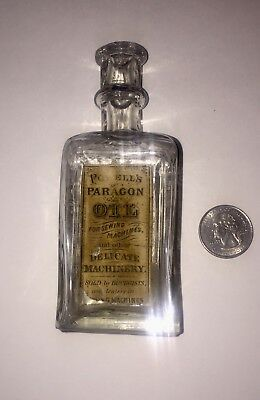 Vintage 1800's Powell's Paragon Oil Bottle Sewing Machines Paper Label Embossed