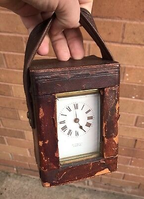 """A FULLY WORKING BRASS CASED """"BUTT & Co"""" ANTIQUE FRENCH CARRIAGE CLOCK, C I900s"""