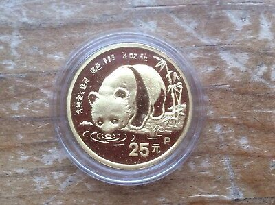 China 1987 Proof Gold 1/4 oz Panda 25 Yuan in Original Mint Capsule lot A2