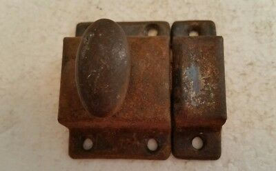 Old vintage metal cabinet cupboard latch with brass turn knob and catch (219H)