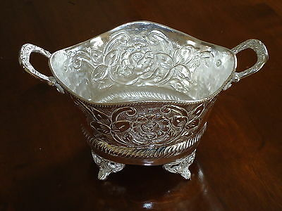 Silver Plated Serving Bon Bon Dish Dinner Party Jardiniere Floral Design