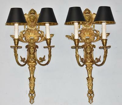 Pair Antique Brass French Style Two Socket Wall Sconces Lady Portrait