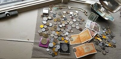 Foreign Coin Currency Chain Silver Plate covered dish Gold tone Chain more lot