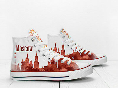 Moscow cityscape Custom Hi Top traveller's shoes PROSPECT AVENUE laceup sneakers