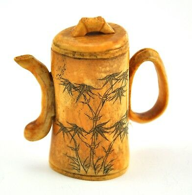 Vintage Chinese Bone Hand Carved Bamboo Scenery Teapot Miniature Decoration