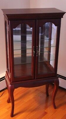 Bombay Company Curio Display Cabinet Cherry Finish Queen Anne Legs 3 Shelves