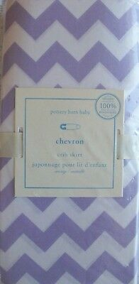 NIP Pottery Barn Kids Lavender HARPER Chevron Cotton Crib Bed Skirt retail $59