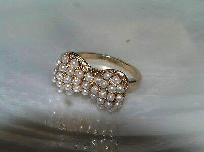 Estate Thin Goldtone Band with Tiny White Seed Pearl Ribbon Bow Ring Size 7 -