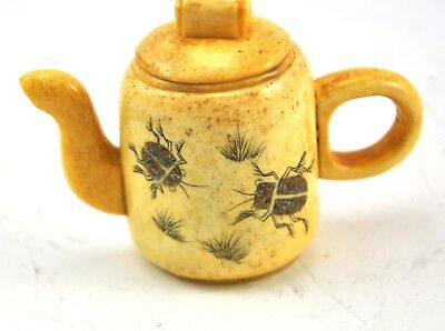 Vintage Chinese Bone Hand Carved Handmade Teapot Miniature Ladybug Insect