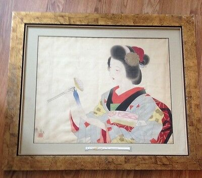"""Antique Japanese Watercolor on Silk of Geshia Girl """" Bijin"""" Signed & Sealed"""