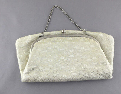 Vintage Cream/White & Silver Fold Over Clutch Purse
