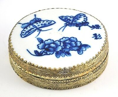 Vintage Chinese Old Porcelain Shard Box Handmade Tibetan Silver Butterfly Flower