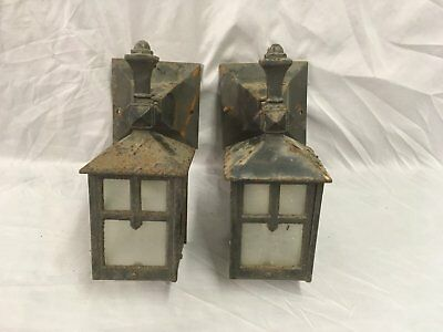 Antique Cast Iron Arts Crafts Porch Sconce Pair Old Wall Light Fixtures 48-18E