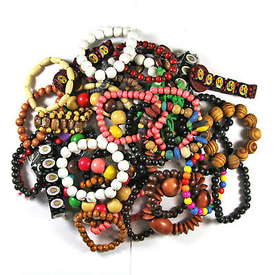 *Wholesale Job Lot* 50 Mixed Ethnic Fashion Surfer Wooden Beads Bracelets