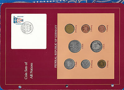 Coin sets of all nations Germany 1950-1992 UNC 10 Pfennig 1950 50 Pfennig 1975