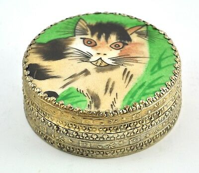 Vintage Chinese Old Porcelain Shard Box Handmade Tibetan Silver Cat Kitty