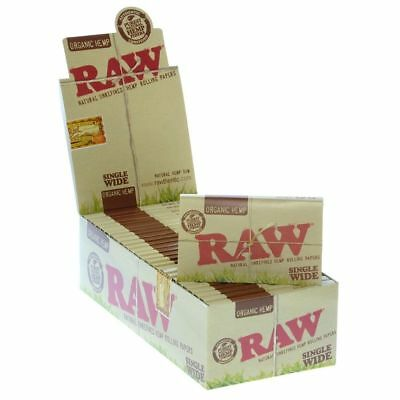 RAW Organic Hemp Single Wide - 20 PACKS - Rolling Papers Roll Natural Cigarette