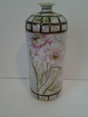 Antique Hand Painted Nippon Vase with Pink Flowers and Gold Outline