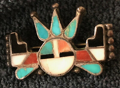 Zuni Early Rare Alonzo Hustito Pin Mosaic Inlay Horned Sun Face Kachina c 1940s