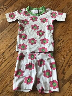 Hanna Andersson 2 Piece White Pink Flower Pajama PJ Shorts and Top Size 100 4