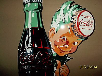 Large Coca Cola Sprite Boy with Bottle Sign. Porcelain Look and Feel-very glossy