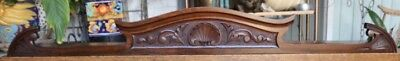 "Lovely c1900  56"" American Shell Themed Antique Mahogany Pediment, Crown, Crest"