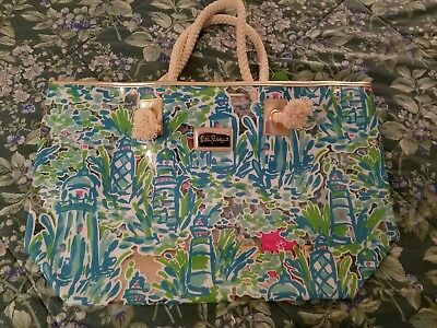 New Sample Lilly Pulitzer Blue Plastic Shoreline Tote High Beams Lighthouse Bag