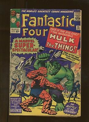 Fantastic Four 25 VG+ 4.5 * 1 Book Lot * Hulk VS Thing! Avengers! Lee & Kirby!